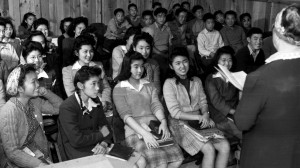 Japanese American women in a classroom at Rohwer camp