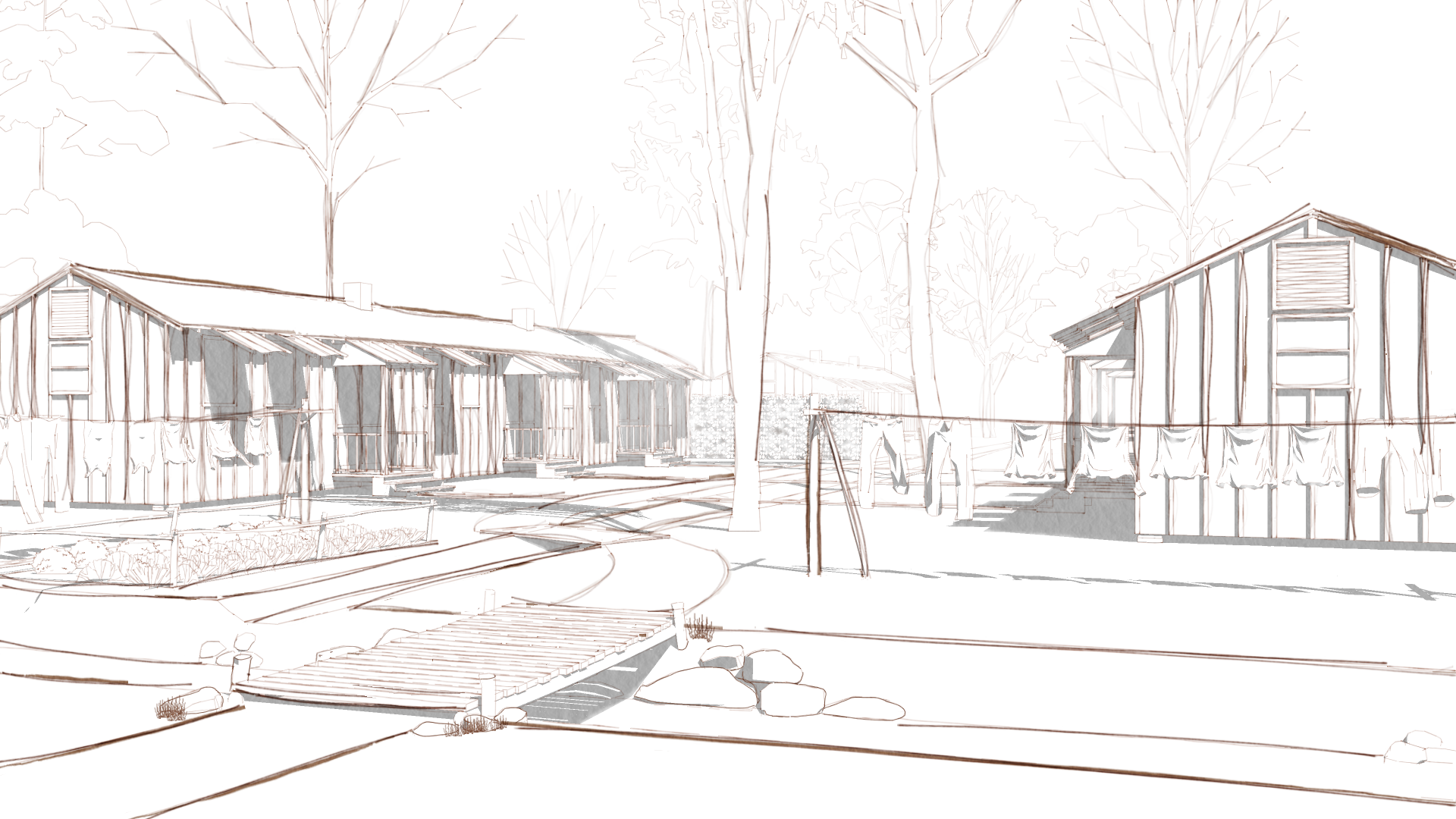 Architectural Illustration of a section of the Rohwer Japanese American Relocation Center (Glenn Gardiner, Center for Digital Initiatives)
