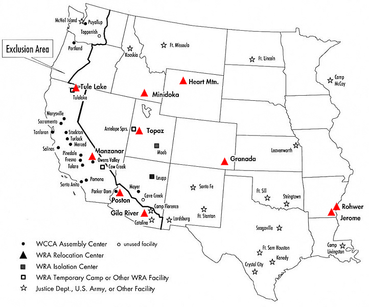 Map of WWII Japanese American Internment Camps (Courtesy: National Park Service)